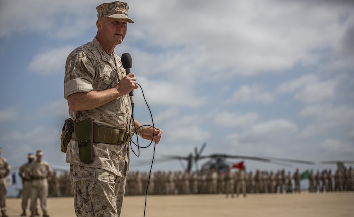 Brig. Gen. Bradley S. James speaks at a change of command ceremony where he assumed his position of commanding general of 4th Marine Aircraft Wing, Marine Forces Reserve from Brig. Gen. Bradley S. James at Marine Corps Air Station Miramar, Calif., April 29, 2016. James served as the previous assistant wing commander of 4th MAW.