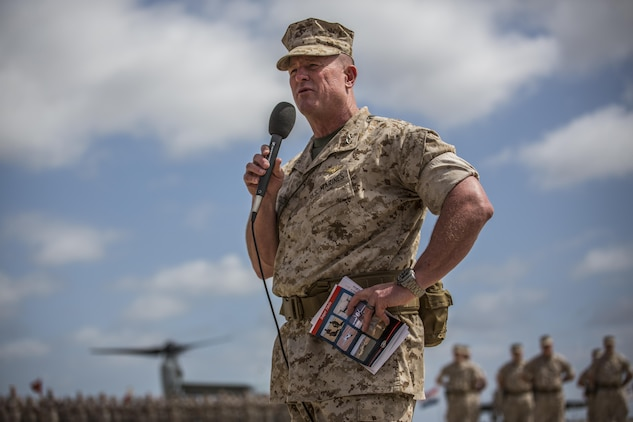 Maj. Gen. William T. Collins speaks at a change of command ceremony where he relinquished command as the commanding general of 4th Marine Aircraft Wing, Marine Forces Reserve, to Brig. Gen. Bradley S. James at Marine Corps Air Station Miramar, Calif., April 29, 2016. Collins is looking forward to his next mission at North American Aerospace Defense Command and U.S. Northern Command, where he will serve as the advisor to the commander.
