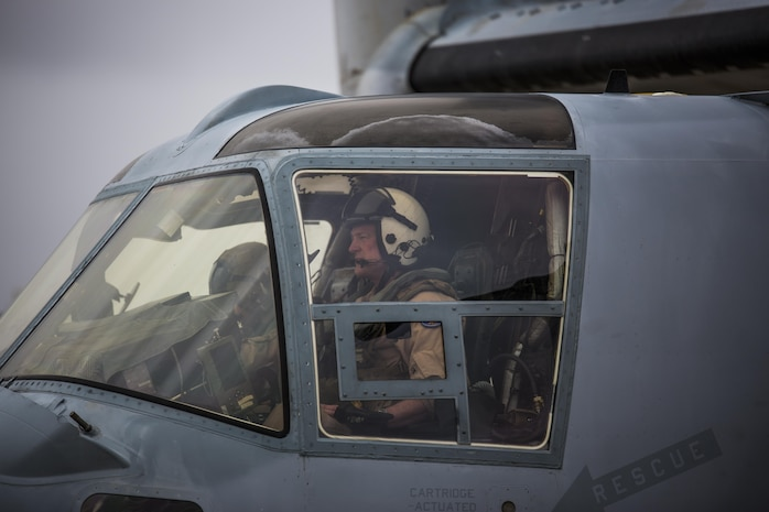 Maj. Gen. William T. Collins, commanding general of 4th Marine Aircraft Wing, Marine Forces Reserve, prepares for takeoff in a MV-22 Osprey before he conducts his final flight with Marine Medium Helicopter Squadron 764 (HMM-764), Marine Aircraft Group 41, 4th MAW, before they officially reached full operational capability at Marine Corps Air Station Miramar, Calif., April 27, 2016. His final flight signified his trust and confidence with the Marines of HMM-764 as they reach their last major milestone to become completely combat ready and deployable.