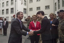 Defense Secretary Ash Carter is greeted by Norwegian Defense Minister Ine Eriksen Soreide as he arrives in Muenster, Germany, as part of a European trip June 22, 2015. In welcoming Norway's May 2, 2016, announcement that Norway is increasing its role in the effort to counter the Islamic State of Iraq and the Levant, Carter said he invited Soreide to participate in a meeting of defense ministers from countries leading the effort. DoD photo by Air Force Senior Master Sgt. Adrian Cadiz