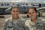 Air Force Tech. Sgt. Kathlyn Hidalgo, left, and Air Force Senior Airman Nikkie Javier