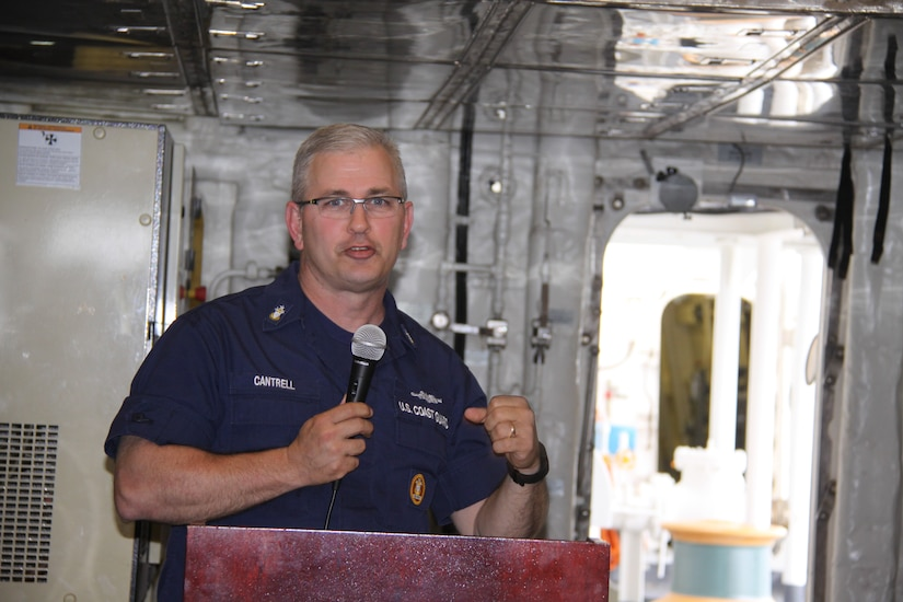 Master Chief Petty Officer of the Coast Guard Steven Cantrell, the 12th MCPOCG and Silver Ancient Mariner of the Coast Guard, visited USCGC HAMILTON in Charleston on April 13, 2016. MCPOCG Cantrell praised the crew for their work in establishing themselves as the first U.S. Coast Guard National Security Cutter in Charleston. During his visit, USCGC Hamilton hosted a traditional Cutterman's Call along with the Local Chapter of the Surface Navy Association. Both organizations plan to combine their efforts locally in the spirit of the U.S. Navy and Coast Guard partnership detailed in the March 2015 Cooperative Strategy for 21st Century Seapower. (US Coast Guard courtesy photo)