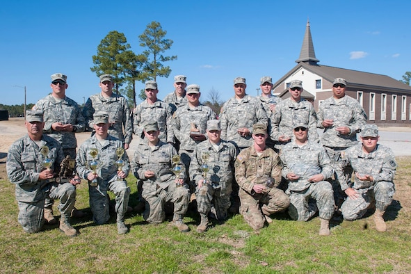 Members of the S.C. Army and Air National Guard competed alongside with members of the German Army in the annual South Carolina National Guard Warfighter Sustainment Training Exercise, otherwise known as the TAG Marksmanship competition. Following the completion results were announced and awards presented to the winners at McCrady Training Center, Eastover, S.C., March 6, 2016. (U.S. Army National Guard photo by Sgt. Brian Calhoun, 108th Public Affairs Det)