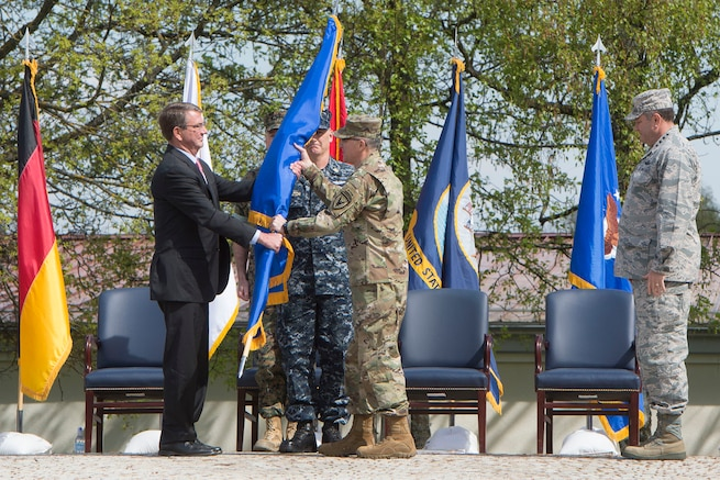 Defense Secretary Ash Carter officially changes command of U.S. European Command from Air Force Gen. Philip M. Breedlove to Army General Curtis M. Scaparrotti during a ceremony in Stuttgart, Germany, May 3, 2016. DoD photo by Navy Petty Officer 1st Class Tim D. Godbee