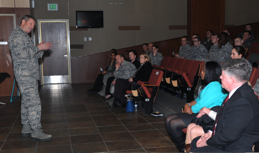 Gen. Robin Rand, AFGSC commander, meets with members of the Sexual Assault Prevention and Response program and victim advocates during a SAPR briefing at Ellsworth AFB, S.D., April 27, 2016. During the brief, Rand learned about the base's Prevention Dormitory Advocate Team, an initiative consisting of a group of Airmen who act as liaisons between dorm Airmen and victim advocates when a sexual assault has occurred within the dorms. (Air Force photo by Airman 1st Class Denise Nevins)