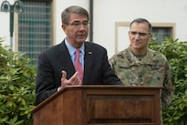 Defense Secretary Ash Carter speaks at  the U.S. European Command's change-of-command ceremony alongside Eucom commander Army Gen. Curtis Scaparrotti in Stuttgart, Germany, May 3, 2016. DoD photo by Navy Petty Officer 1st Class Tim D. Godbee
