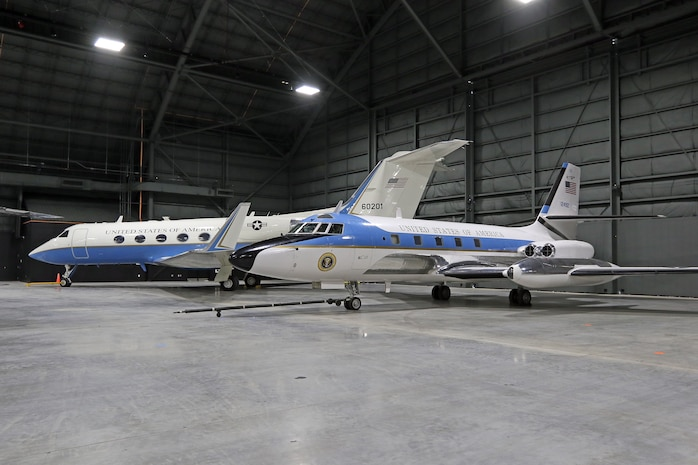 DAYTON, Ohio -- The Gulfstream Aerospace C-20B(left) and the Lockheed VC-140B JetStar(right) at the National Museum of the United States Air Force. (U.S. Air Force photo by Don Popp)