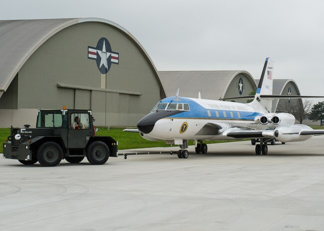 DAYTON, Ohio -- The Lockheed VC-140B JetStar being towed to the fourth building at the National Museum of the United States Air Force. (U.S. Air Force photo by Ken LaRock)