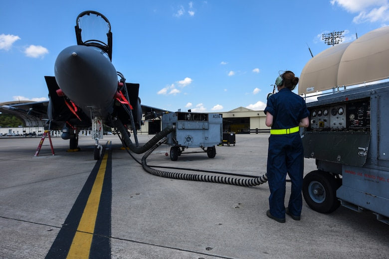 Airman 1st Class Bailey O'Dell, 4th Aircraft Maintenance Squadron armaments systems technician, runs maintenance on an F-15E Strike Eagle, April 26, 2016, at Seymour Johnson Air Force Base, North Carolina. In preparation for exercise Combat Hammer, Airmen from the 4th AMXS prepped jets to participate in the two-week exercise. (U.S. Air Force photo by Airman Shawna L. Keyes/Released)