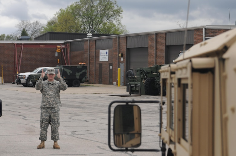 Sgt. Lucas Shafroth, an Army Reserve communications NCO with the 103rd Sustainment Command (Expeditionary) Headquarters, Headquarters Company, completes driver's training at Fort Des Moines, Iowa, Thursday. Schafroth thwarted a sexual assault after the April 17 battle assembly, and credits much of his response to sexual assault awareness training he received that battle assembly.