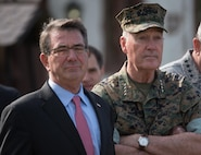 Defense Secretary Ash Carter and Marine Corps Gen. Joe Dunford, chairman of the Joint Chiefs of Staff, wait to begin the change-of-command ceremony for U.S. European Command at Patch Barracks in Stuttgart, Germany, May 3, 2016. DoD photo by D. Myles Cullen