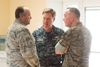 Marine Corps Gen. Joe Dunford, right, chairman of the Joint Chiefs of Staff; Navy Adm. Mark Ferguson, center, commander of Allied Joint Force Command; and Air Force Gen. Phillip M. Breedlove, outgoing commander of U.S. European Command, talk before the change-of-command ceremony for U.S. European Command at Patch Barracks in Stuttgart, Germany, May 3, 2016. DoD photo by D. Myles Cullen