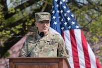 Army Gen. Curtis M. Scaparrotti, incoming commander of U.S. European Command, addresses the audience during the command's ceremony to change commanders in Stuttgart, Germany, May 3, 2016. DoD photo by D. Myles Cullen