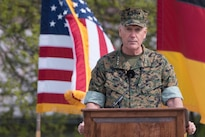 Marine Corps Gen. Joe Dunford, chairman of the Joint Chiefs of Staff, addresses the audience during the change-of-command ceremony for U.S. European Command in Stuttgart, Germany, May 3, 2016. During the ceremony, Army Gen. Curtis M. Scaparrotti assumed command from Air Force Gen. Philip M. Breedlove. DoD photo by D. Myles Cullen