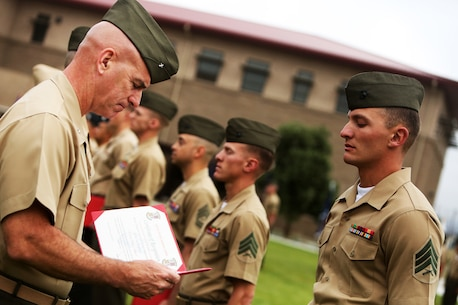 U.S. Marine Sgt. Johnathan Howley is awarded a Navy and Marine Corps Achievement Medal during an awards ceremony aboard Camp Pendleton, Calif., April 22, 2016. Howley is a bulk fuel specialist with 7th Engineer Support Battalion. Ten Marines and Sailors with 1st Marine Logistics Group were recognized for their outstanding performance throughout the year. Awards ranged from a Certificate of Commendation, Marine of the year, Noncommissioned Officer of the Year, and the Navy and Marine Corps Achievement Medal.  (U.S. Marine Corps photo by Sgt. Laura Gauna/released)