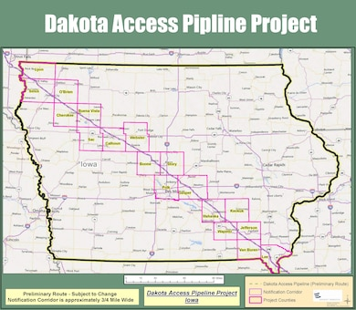Dakota Access Pipeline Map - Iowa