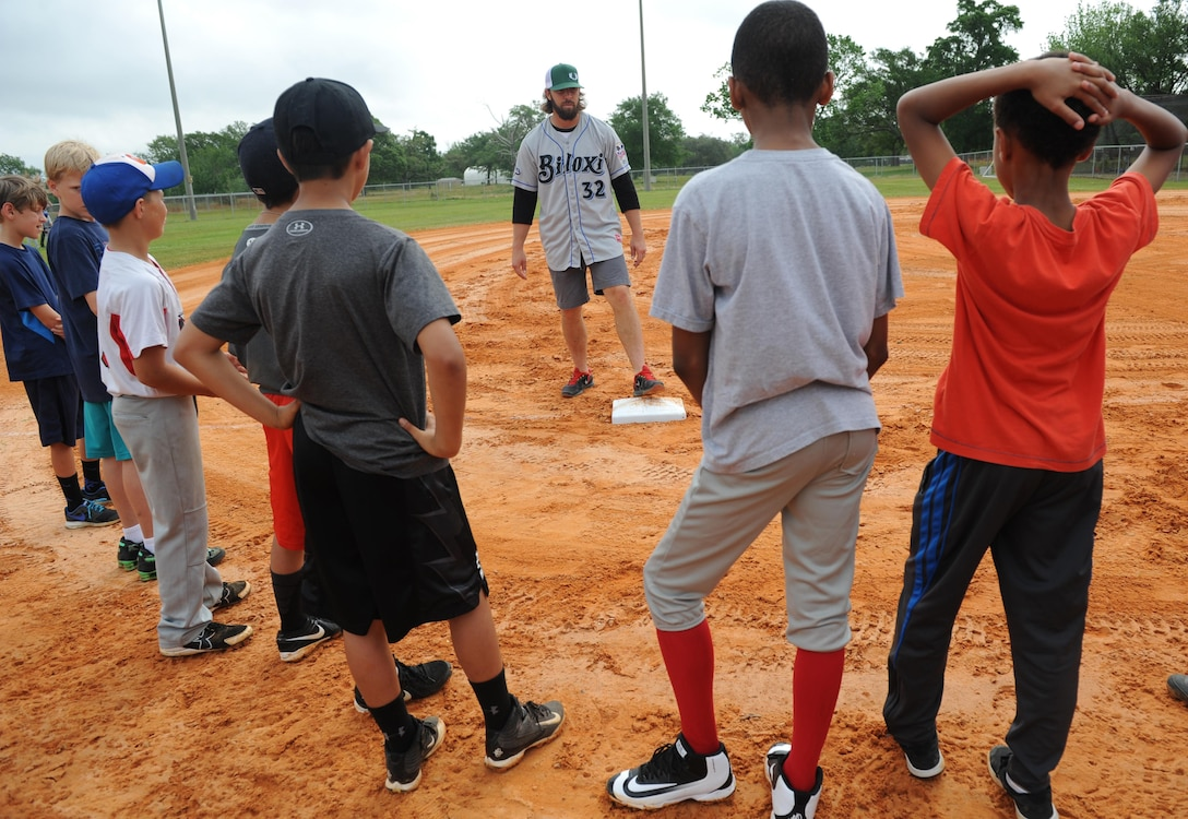 Daniel Tillman, Biloxi Shuckers pitcher, shows proper foot placement during the Biloxi Shucker's Youth Baseball Clinic at the youth center baseball field April 30, 2016, Keesler Air Force Base, Miss. The clinic provided hitting, pitching, base running and fielding instruction from members of the Biloxi Shucker's minor league baseball team. (U.S. Air Force photo by Kemberly Groue)