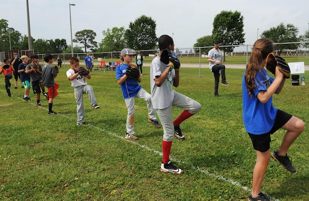 Stephen Peterson, Biloxi Shuckers pitcher, demonstrates pitching techniques during the Biloxi Shucker's Youth Baseball Clinic at the youth center baseball field April 30, 2016, Keesler Air Force Base, Miss. The clinic provided hitting, pitching, base running and fielding instruction from members of the Biloxi Shucker's minor league baseball team. (U.S. Air Force photo by Kemberly Groue)