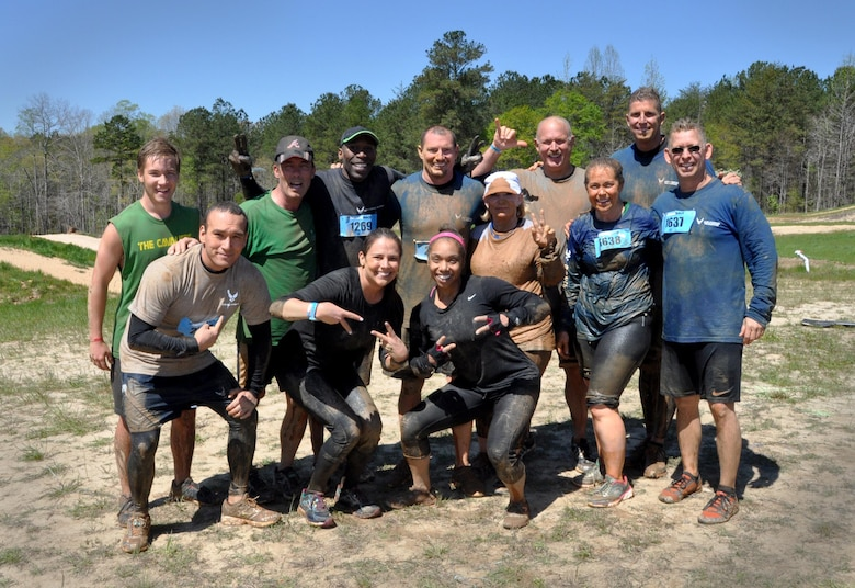 Members of the Dobbins Air Reserve family and many other racers from Georgia experienced heart-pumping, adrenaline-rushing, difficult obstacles and more when they participated in the Savage Race on April 9, 2016 in Dallas, Georgia. The journey was challenging and dirty but the Airmen pushed through, supported one another and emerged victorious at the finish line. (U.S. Air Force photo by Senior Airman Lauren Douglas)