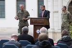 Defense Secretary Ash Carter, Marine Corps Gen. Joe Dunford, chairman of the Joint Chiefs of Staff; and Army Gen. Curtis M. Scaparrotti, commander of U.S. European Command, hold a press conference at Patch Barracks in Stuttgart, Germany, May 3, 2016. DoD photo by D. Myles Cullen