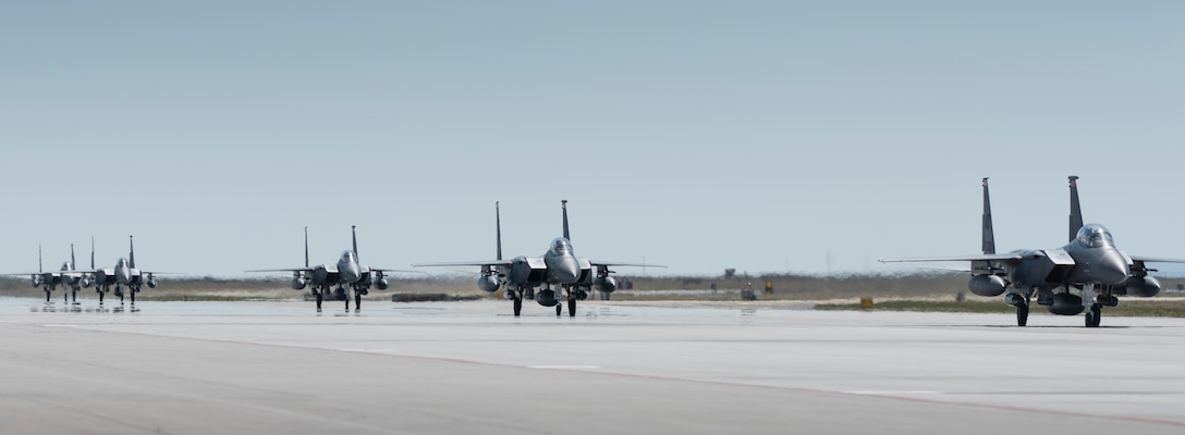 F-15E Strike Eagles taxi after returning from Southwest Asia to Mountain Home Air Force Base, Idaho, April 17, 2016. Airmen spent six months deployed in support of Operation Inherent Resolve. (U.S. Air Force photo by Airman Alaysia Berry/Released)