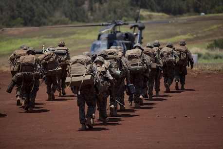 U.S. Marines assigned to 3rd Battalion, 3rd Marine Regiment, march into the pickup zone to board UH-60 helicopters at Landing Zone Canes, Hawaii, April 29, 2016. Marine Heavy Helicopter Squadron 463 led four CH-53Es, four UH-60s, and a CH-47 in a battalion-sized lift during assault support operations.  (U.S. Marine Corps photo by Cpl. Aaron S. Patterson)