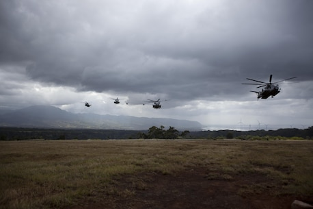 U.S. Marine CH-53E Super Stallion helicopters assigned to Marine Heavy Helicopter Squadron 463 and U.S. Army aircraft assigned to the 25th Combat Aviation Brigade prepare to land in formation during interoperability operations at Landing Zone Pu'ukapu, Hawaii, April 29, 2016. HMH-463 and the 25th CAB assisted 3rd Battalion, 3rd Marine Regiment with personnel extraction and insertion during their Marine Corps Combat Readiness Evaluation. (U.S. Marine Corps photo by Lance Cpl. Julian A. Temblador)