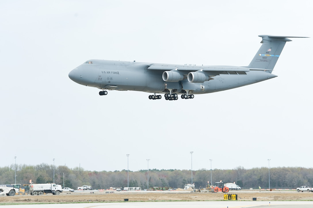 A C-5M Super Galaxy lands April 4, 2016 at Dover Air Force Base, Del. The Home-Station Logistics Departure Reliability Rate for Team Dover's C-5M fleet for March 2016, was 98.1 percent. (U.S. Air Force photo/Roland Balik)