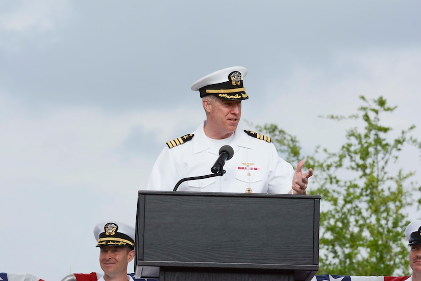 Capt. John Meier, guest speaker, addresses the crowd during the graduation ceremony of Nuclear Power School class 1601 at Naval Nuclear Power Training Command (NNPTC) on April 22, 2016. Based at Joint Base Charleston-Naval Weapons Station, NNPTC trains Sailors in the fundamentals of design, operation, and maintenance of shipboard nuclear propulsion plants. (U.S. Navy Photo by Mass Communication Specialist 2nd Class John Haynes)