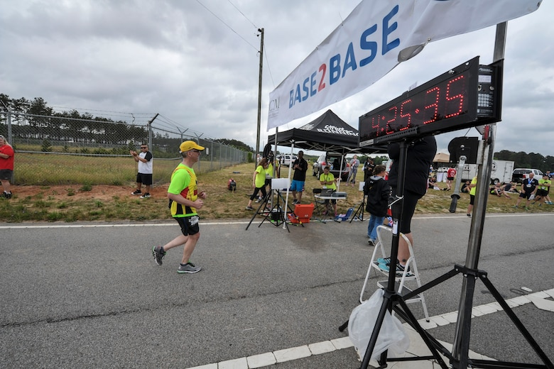 In support of Military Appreciation Month the Sumter, S.C., YMCA hosted a 21-mile Base-2-Base Race, starting from McEntire Joint National Guard Base, in Eastover, S.C., and finishing at Shaw Park, near Shaw Air Force Base, Sumter, S.C., May 1, 2016. (U.S. Air National Guard photo by Tech. Sgt. Jorge Intriago)