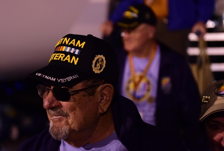 Approximately 120 veterans and their guardians returned from Washington D.C. May 2, 2016, at Signature Flight Support DEN. The Northern Colorado Honor Flight program is a non-profit organization created to honor America's veterans for all their sacrifices by providing a flight to the nation's capital to tour various monuments. (U.S. Air Force photo by Airman 1st Class Gabrielle Spradling/Released)