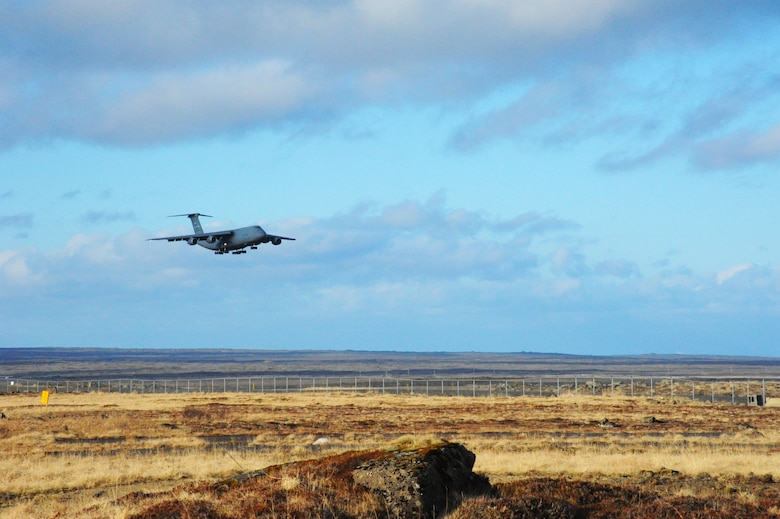 A U.S. Air Force C-5 Galaxy cargo aircraft prepares to land at Keflavik International Airport, Iceland, April 28, 2016. The U.S. Air Force's forward presence in Europe allows the U.S. to work with allies to ensure regional security in the region. (U.S. Air Force photo by Master Sgt. Kevin Nichols/Released)