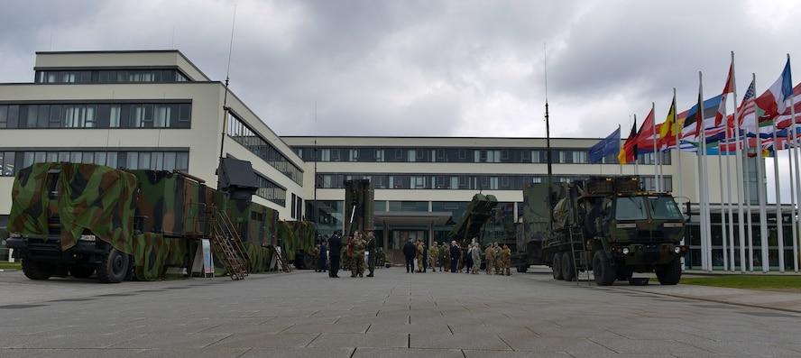 Service members under NATO participate in a missile defense system static display April 27, 2016, at Ramstein Air Base, Germany. The static display supported at US-led Air and Missile Defense exercise along with NATO's own exercise, Steadfast Alliance. (U.S. Air force photo/Airman 1st Class Lane T. Plummer)