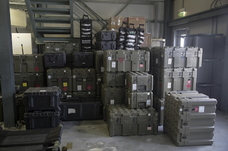 Large crates and boxes filled with medical supplies, part of the Forward Resuscitative Surgical System-Shock Trauma Platoon are prepared for shipping on Naval Air Station Sigonella, Italy, May 2, 2016.  Some of the FRSS-STP capabilities include basic trauma resuscitation with supplementation of fluids and blood products, basic general surgeries to stop internal bleeding and stabilizing fractures to prevent further injuries to a patient.  (U.S. Marine Corps photo by Cpl. Alexander Mitchell/released)