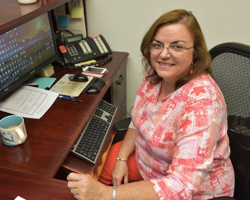 "It's Public Service Recognition Week, and the 403rd Wing at Keesler Air Force Base, Mississippi, thanks it's civil service employees such as Wanda Bowman, secretary to the wing commander, for their service.  Bowman has been with the wing for 20 years and has been a federal civil service employee for 33.5 years. Public Service Recognition Week has been celebrated during the first full week of May since 1985 and honors the men and women who serve our nation as federal, state, county and local government employees. The national theme this year is ""Honoring our Public Servants. Connecting Citizens with Their Government.""  (U.S. Air Force photo/Maj. Marnee A.C. Losurdo)"