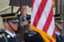 Deputy Defense Secretary Bob Work renders honors during the national anthem at the Public Service Recognition Week ceremony at the Pentagon, May 4, 2016. DoD photo by Air Force Senior Master Sgt. Adrian Cadiz