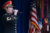 An Army vocalist performs the national anthem during the Public Service Recognition Week ceremony at the Pentagon, May 4, 2016. DoD photo by Air Force Senior Master Sgt. Adrian Cadiz