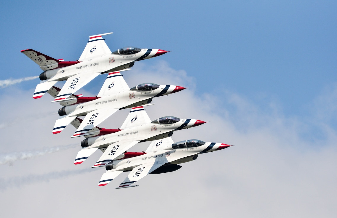 U.S. Air Force Thunderbirds demonstrate precision flying during the 2016 Defenders of Liberty Airshow at Barksdale Air Force Base, La., May 1. A Thunderbird performance displays the pride, precision and professionalism of the team while highlighting the skills and training indicative of all members of the U.S. Air Force. Years of training are brought together in the hour-long demonstration, exhibiting what the Air Force is all about. (U.S. Air Force photo/Senior Airman Mozer O. Da Cunha)