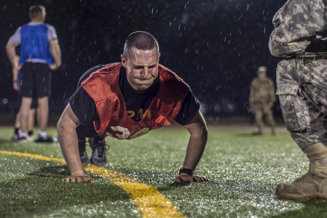 Soldiers begin the Army's physical fitness test in the rain during the 2016 U.S. Army Reserve Best Warrior Competition at Fort Bragg, N.C., May 3, 2016. This year's event determined which noncommissioned officer and junior enlisted soldier would represent the Army Reserve in the Army's Best Warrior Competition later this year. Army photo Sgt. 1st Class Brian Hamilton