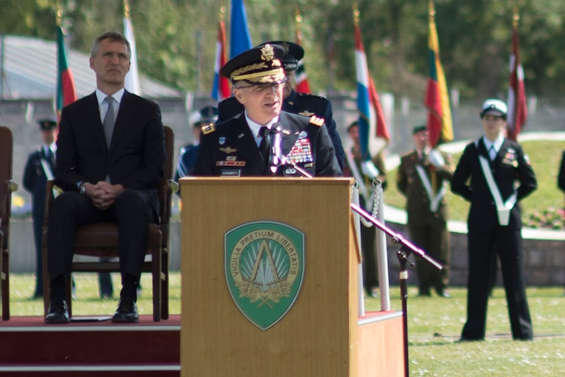 Army Gen. Curtis M. Scaparrotti speaks after assuming command of NATO's Allied Command Operations from Air Force Gen. Philip M. Breedlove in Mons, Belgium, May 4, 2016. DoD photo by D. Myles Cullen
