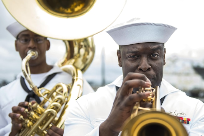 The U.S. Fleet Forces Band performs pier side as the USS Arlington returns home to Norfolk, Va., May 3, 2016, after a seven-month deployment. The amphibious transport dock ship arrived at Naval Station Norfolk after conducting maritime security operations and theater security cooperation efforts in the U.S. 5th and 6th Fleet areas of responsibility. Navy photo by Petty Officer 3rd Class Kameren Guy Hodnett