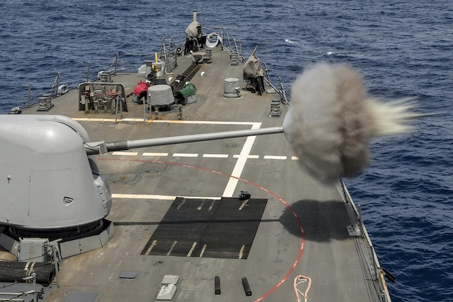 The USS Porter test fires its 5-inch gun while operating in the Mediterranean Sea, April 30, 2016. The guided-missile destroyer is patrolling in the U.S. 6th Fleet area of operations to support U.S. national security interests in Europe. Navy photo by Petty Officer 3rd Class Robert S. Price