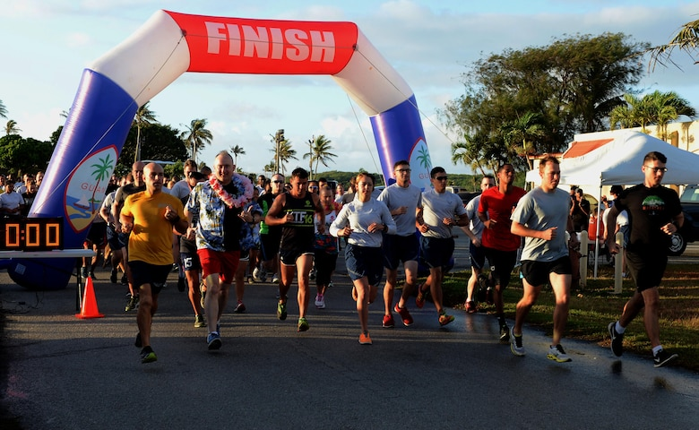 Runners start the race during the Asian American Pacific Islander Heritage Month 5K May 4, 2016, at Andersen Air Force Base, Guam. The 5K was held to celebrate the contributions of Asian Americans and Pacific islanders during the month of May. (U.S. Air Force photo by Airman 1st Class Arielle Vasquez/Released)