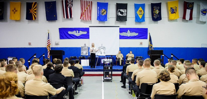 Kimberly Cockrell, Mothers Against Drunk Driving victim services specialist, talks with Naval Nuclear Power Training Command students April 27, 2016, at the Bowman Center on Joint Base Charleston – Weapons Station, S.C. This MADD event was a segway into JB Charleston's upcoming Critical Days of Summer campaign. MADD ties into this campaign by focusing on the destructive behaviors like DUI's and how they affect those around us. (U.S. Air Force photo/Senior Airman Clayton Cupit)