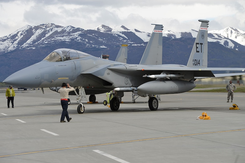 A U.S. Air Force F-15 Eagle from Eglin Air Force Base, Fla., taxis for departure on the Joint Base Elmendorf-Richardson flightline, May 3, 2016. The fighter is deployed to JBER as part of Red Flag-Alaska, a Pacific Air Forces commander-directed field training exercises for U.S. and international forces, providing combined offensive counter-air, interdiction, close air support and large force employment training in a simulated combat environment. (U.S. Air Force photo by Airman 1st Class Javier Alvarez)