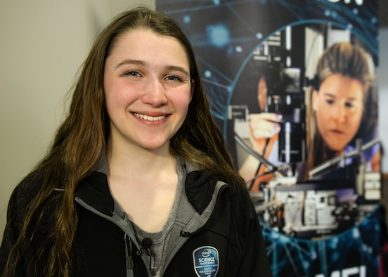 "Paige Brown, 17, a senior at Bangor High School in Bangor, Maine, invented a device that absorbs phosphorous from storm water in the streams in her community. Her research was an environmental engineering project called 'Constructing an Inexpensive Calcium Alginate-Based Scaffold for Phosphorous Sorption in Storm Water."" In March, Brown also won a First Place Medal of Distinction for Global Good and a $150,000 prize to continue her research as part of the Intel Science Talent Search 2016 competition for studying the water quality of six environmentally impaired local streams with high E. coli and phosphate contamination levels. (U.S. Air Force photo/Wesley Farnsworth)"