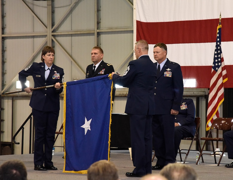 Brig. Gen. Russ A. Walz, former 114th Fighter Wing commander, relinquished command of the Fighter Wing and was recognized for his promotion to Brigadier General during a ceremony at Joe Foss Field, S.D. May 1, 2016.  Walz will begin his new position as Director of Joint Staff, Joint Force Headquarters, South Dakota National Guard and South Dakota Air National Guard Chief of Staff May 1, 2016. (U.S. Air National Guard photo by Staff Sgt. Luke Olson/released)