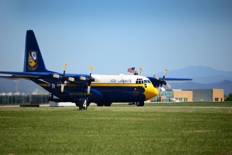 The U.S. Navy Blue Angels Fat Albert C-130 Hercules lands after a successful demonstration at the 2016 Smoky Mountain Air Show at McGhee Tyson ANG Base, TN. (U.S. Air National Guard photo by Master Sgt. Kendra M. Owenby, 134 ARW Public Affairs)