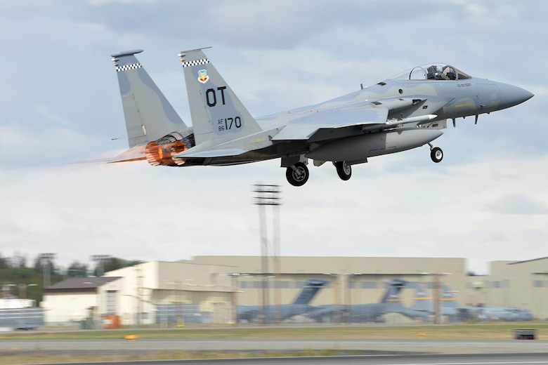 A U.S. Air Force F-15 Eagle from Eglin Air Force Base, Fla., rises over the Joint Base Elmendorf-Richardson flightline, as part of Red Flag-Alaska, May 3, 2016. Red Flag-Alaska is a Pacific Air Forces-directed field training exercises for U.S. and international forces, providing combined offensive counter-air, interdiction, close air support and large force employment training in a simulated combat environment. (U.S. Air Force photo by Airman 1st Class Javier Alvarez)