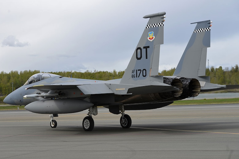 A U.S. Air Force F-15 Eagle from Eglin Air Force Base, Fla., taxis for departure on the Joint Base Elmendorf-Richardson flightline, May 3, 2016. The fighter is deployed to JBER as part of  Red Flag-Alaska, a  Pacific Air Forces commander-directed field training exercises for U.S. forces, provides joint offensive counter-air, interdiction, close air support, and large force employment training in a simulated combat environment. (U.S. Air Force photo by Airman 1st Class Javier Alvarez)